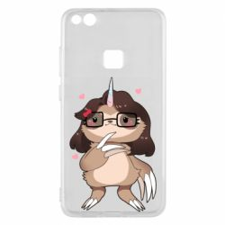 Чехол для Huawei P10 Lite Girl Sloth with Unicorn Horn - FatLine