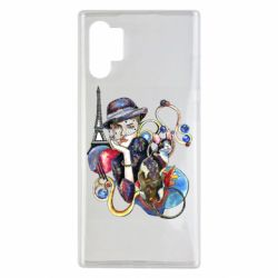 Чохол для Samsung Note 10 Plus Girl with a cat in paris