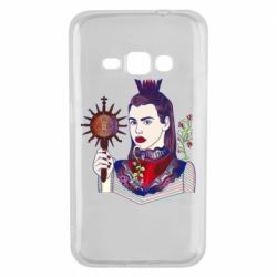 Чехол для Samsung J1 2016 Girl with a crown and a flower on a beard