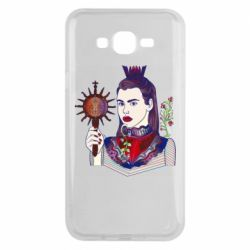 Чехол для Samsung J7 2015 Girl with a crown and a flower on a beard