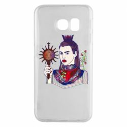 Чехол для Samsung S6 EDGE Girl with a crown and a flower on a beard