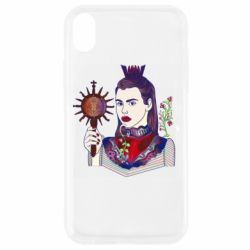 Чехол для iPhone XR Girl with a crown and a flower on a beard