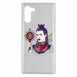 Чехол для Samsung Note 10 Girl with a crown and a flower on a beard