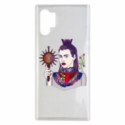 Чехол для Samsung Note 10 Plus Girl with a crown and a flower on a beard