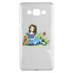 Чехол для Samsung A5 2015 Girl with a kitten in flowers