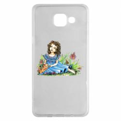 Чехол для Samsung A5 2016 Girl with a kitten in flowers