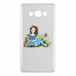 Чехол для Samsung A7 2015 Girl with a kitten in flowers