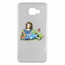 Чехол для Samsung A7 2016 Girl with a kitten in flowers