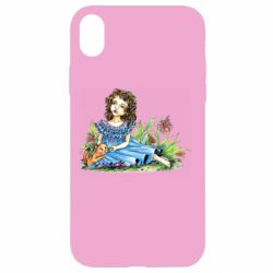 Чехол для iPhone XR Girl with a kitten in flowers