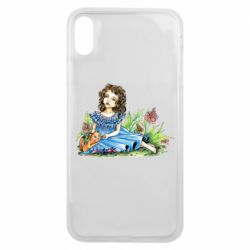 Чехол для iPhone Xs Max Girl with a kitten in flowers