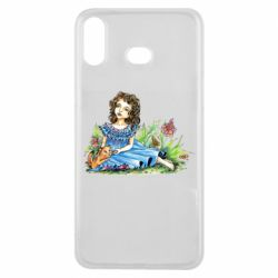 Чехол для Samsung A6s Girl with a kitten in flowers