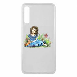 Чехол для Samsung A7 2018 Girl with a kitten in flowers