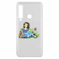 Чехол для Samsung A9 2018 Girl with a kitten in flowers