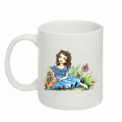 Кружка 320ml Girl with a kitten in flowers