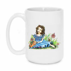 Кружка 420ml Girl with a kitten in flowers