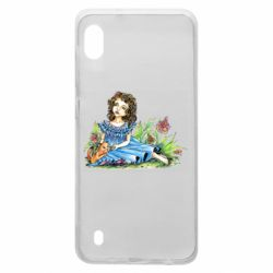 Чехол для Samsung A10 Girl with a kitten in flowers
