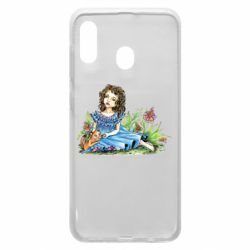 Чехол для Samsung A20 Girl with a kitten in flowers