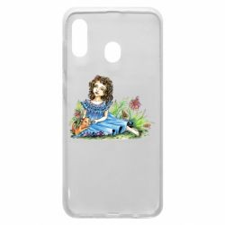 Чехол для Samsung A30 Girl with a kitten in flowers