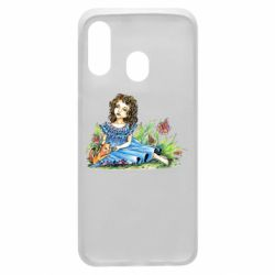 Чехол для Samsung A40 Girl with a kitten in flowers