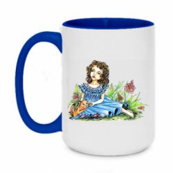Кружка двухцветная 420ml Girl with a kitten in flowers