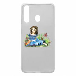 Чехол для Samsung A60 Girl with a kitten in flowers