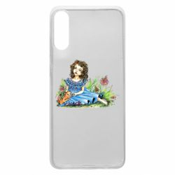 Чехол для Samsung A70 Girl with a kitten in flowers
