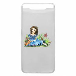Чехол для Samsung A80 Girl with a kitten in flowers