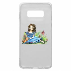 Чехол для Samsung S10e Girl with a kitten in flowers