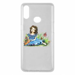 Чехол для Samsung A10s Girl with a kitten in flowers