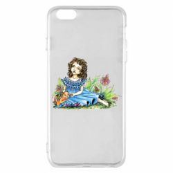 Чехол для iPhone 6 Plus/6S Plus Girl with a kitten in flowers
