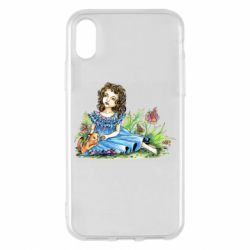 Чехол для iPhone X/Xs Girl with a kitten in flowers