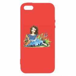 Чехол для iPhone5/5S/SE Girl with a kitten in flowers