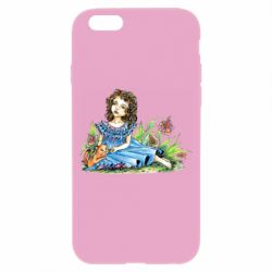 Чехол для iPhone 6/6S Girl with a kitten in flowers