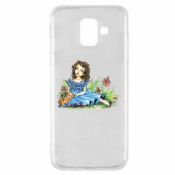 Чехол для Samsung A6 2018 Girl with a kitten in flowers