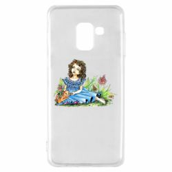 Чехол для Samsung A8 2018 Girl with a kitten in flowers