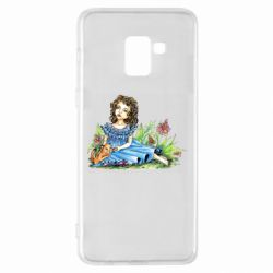 Чехол для Samsung A8+ 2018 Girl with a kitten in flowers