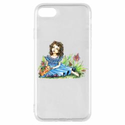 Чехол для iPhone 8 Girl with a kitten in flowers