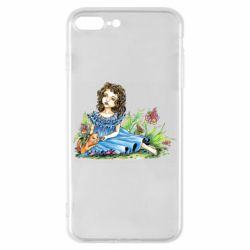 Чехол для iPhone 8 Plus Girl with a kitten in flowers