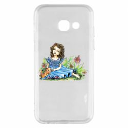 Чехол для Samsung A3 2017 Girl with a kitten in flowers