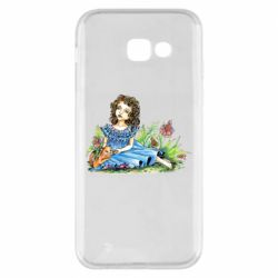 Чехол для Samsung A5 2017 Girl with a kitten in flowers