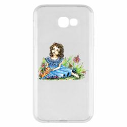 Чехол для Samsung A7 2017 Girl with a kitten in flowers