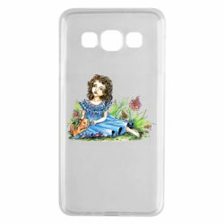 Чехол для Samsung A3 2015 Girl with a kitten in flowers