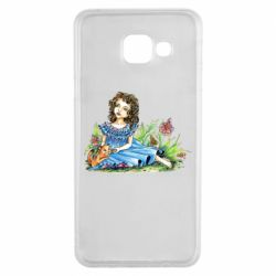 Чехол для Samsung A3 2016 Girl with a kitten in flowers