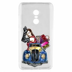 Чехол для Xiaomi Redmi Note 4 Girl with a retro car