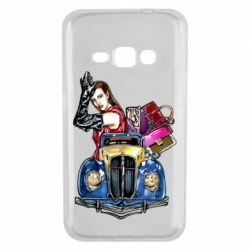 Чехол для Samsung J1 2016 Girl with a retro car