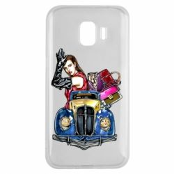 Чехол для Samsung J2 2018 Girl with a retro car