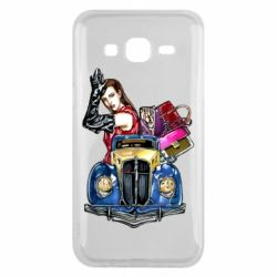 Чехол для Samsung J5 2015 Girl with a retro car
