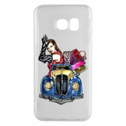 Чехол для Samsung S6 EDGE Girl with a retro car