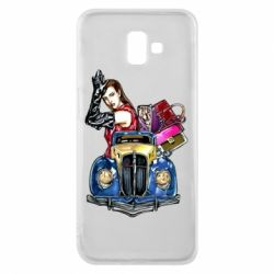 Чехол для Samsung J6 Plus 2018 Girl with a retro car