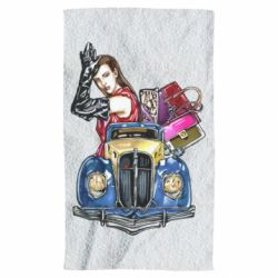 Полотенце Girl with a retro car